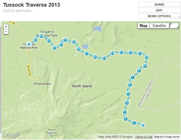 Tussock Traverse Map