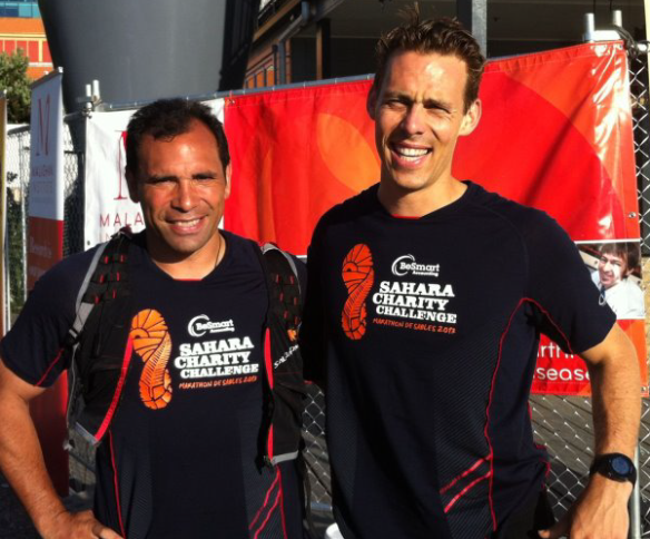Willy and Greig just before heading off to complete the 5th marathon! Photo credit - Malaghan Institute.