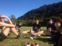 Enjoying a post race recap with fellow trail runners